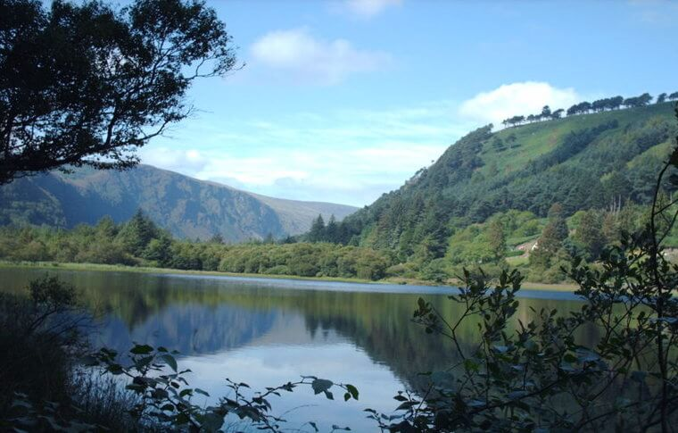 Photo from through some bushes looking onto Glendalough upper lake