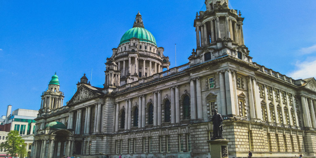 Belfast City Hall with a light green dome